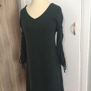 Extremely Soft Dark Green Loft Dress Tie Sleeve M